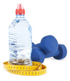 Two dumbells, water in bottle Stock Photography