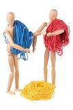 Two dummy and colored cords Royalty Free Stock Photography