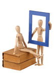 Two dummy, old books and photo frame Royalty Free Stock Photography