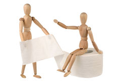 Two dummy and toilet paper Royalty Free Stock Images