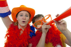 Two Dutch soccer fans Stock Photo