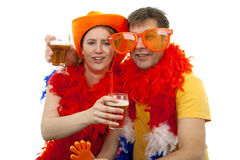 Two Dutch soccer fans Royalty Free Stock Photo