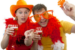 Two Dutch soccer fans Royalty Free Stock Image