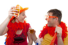 Two Dutch soccer fans Stock Photography