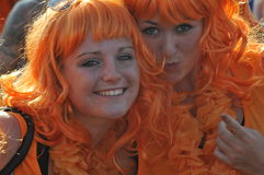 Two Dutch supporters watching the game. Royalty Free Stock Images