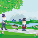 Two dwarfs gardeners Royalty Free Stock Images