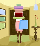 Two of Each Color. Woman arrives home carrying a stack of boxes and bag, after a huge shopping spree Vector Illustration