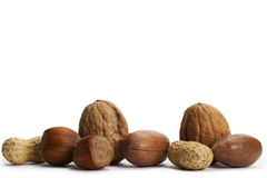Two of each pecan hazelnuts walnuts and peanuts Royalty Free Stock Photography