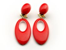 Two earrings red Stock Images