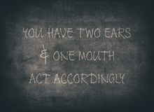 Two ears listen learn wisdom typography. Two ears listen learn wisdom letterpress typography wise silence golden learning listening speak softly knowledge stock photos