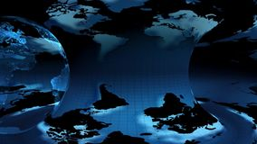 Two Earth globe rotated on a blue background. Two Earth globe rotated on a blue earth map  background (loop stock footage