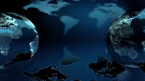 Two Earth globe rotated on a blue background. Two Earth globe rotated on a blue earth map  background (loop stock video