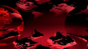 Two Earth globe rotated on a red background. Two Earth globe rotated on a red earth map  background (loop stock video footage
