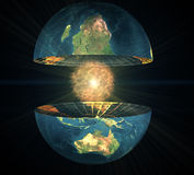 Two earth hemisphere. With energy ball on a black Royalty Free Stock Photography