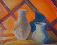 Orange still life with two jugs royalty free illustration