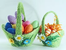 Two easter  basket. Two basket with easter colorful eggs Stock Photo