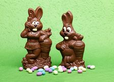 Two easter bunnies royalty free stock images