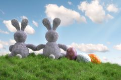 Two Easter bunnies sitting in the grass with Easter eggs stock image