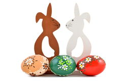 Two Easter bunny with eggs Stock Photography