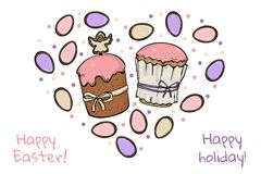 Two Easter cakes with colourful eggs vector illustration