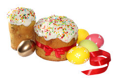 Two Easter cakes and eggs (image with clipping path) Stock Photography