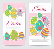 Two Easter cards with painted eggs. In stars, circles, stripes, rings, green, pink, yellow blue Royalty Free Stock Photo