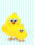Two Easter chicks standing on stripped background Royalty Free Stock Images