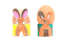 Two easter egg holders made by children Royalty Free Stock Photos