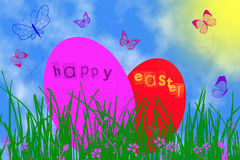Two Easter eggs royalty free stock photo