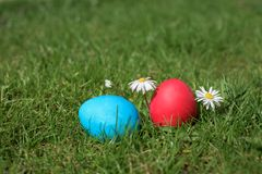 Two easter eggs- blue and red Stock Photos