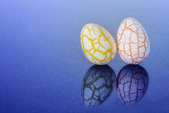 Two easter Eggs with cracks Royalty Free Stock Images