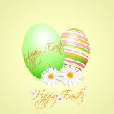 Two easter eggs with daisies Royalty Free Stock Photography