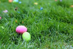 Two Easter Eggs in Grass Royalty Free Stock Images