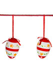 Two easter eggs hanging on a red Royalty Free Stock Photography