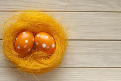 Two Easter eggs in the nest Royalty Free Stock Image