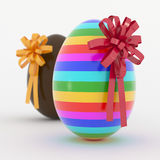 Two Easter Eggs with ribbon Royalty Free Stock Images