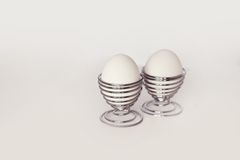 Two easter eggs on white background Royalty Free Stock Photography