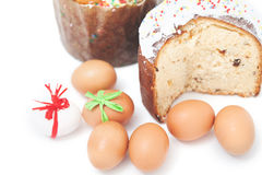 Two Easter and eggs on white background Royalty Free Stock Photography