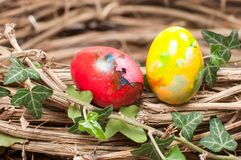 Two Easter eggs in a nest Stock Photography