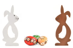 Two Easter rabbit with eggs Stock Images