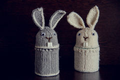 Two Easter rabbit knitted gifts for the holiday Royalty Free Stock Photography