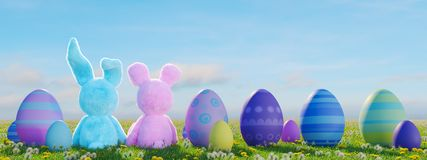 Two easter rabbits sitting in lawn with easter eggs. 3d rendering. 3d rendering. two easter rabbits sitting in lawn with easter eggs Stock Photo