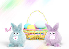 Two Easter rubbits with basket Royalty Free Stock Image
