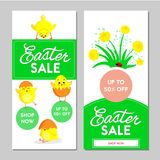 Two Easter sale banners. Vector illustration. Two Easter sale banners, little chickens and flowers on a white background. Vector illustration Royalty Free Stock Image