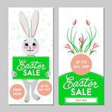 Two Easter sale banners. Vector illustration. Two Easter sale banners, bunny and flowers on a white background. Vector illustration Stock Photos