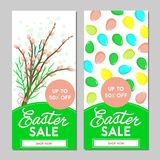 Two Easter sale banners. Vector illustration. Two Easter sale banners, willow and eggs on a white background. Vector illustration Stock Photography