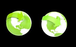 Two eco green globes on black Stock Photo