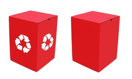 Two ecofriendly red cardboard boxes & recycle sign Royalty Free Stock Photography