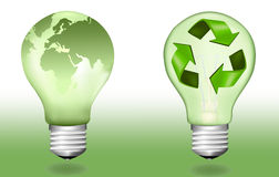 Two ecologic light bulbs. Vector. Stock Photo