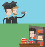 Two educational banners with space for text. Vector flat design. Horizontal layout. Cheerful graduates in cloaks and graduation caps making selfie. Excited vector illustration